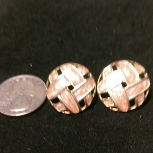 Jewelry - Goldtone Circular Overlapping Straps-Stud Earrings